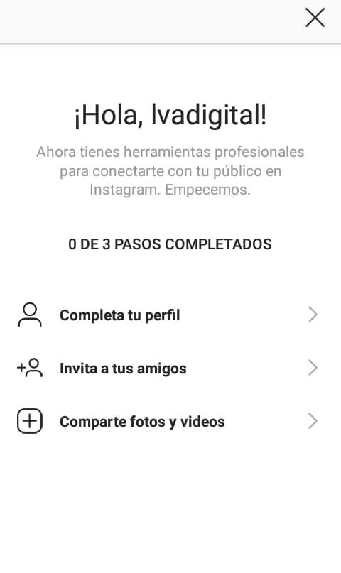 Primeros pasos en la cuenta empresarial de Instagram