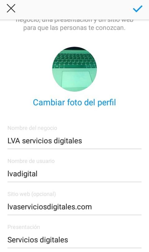 Completa el perfil de tu negocio en Instagram