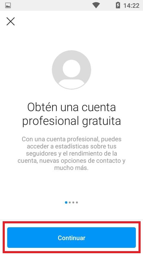 Presentación del perfil profesional de Instagram