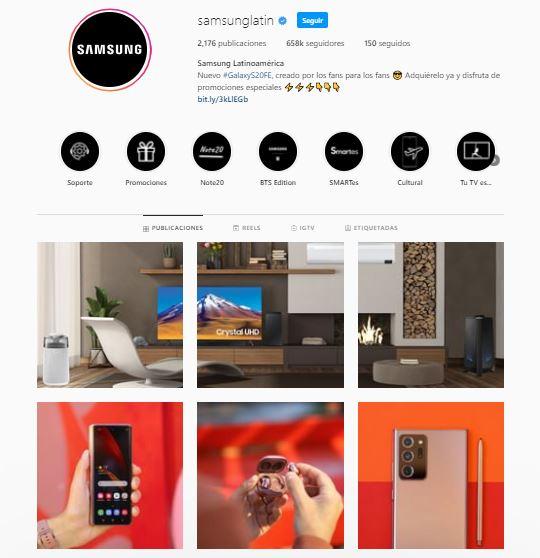Instagram de empresa de Samsung