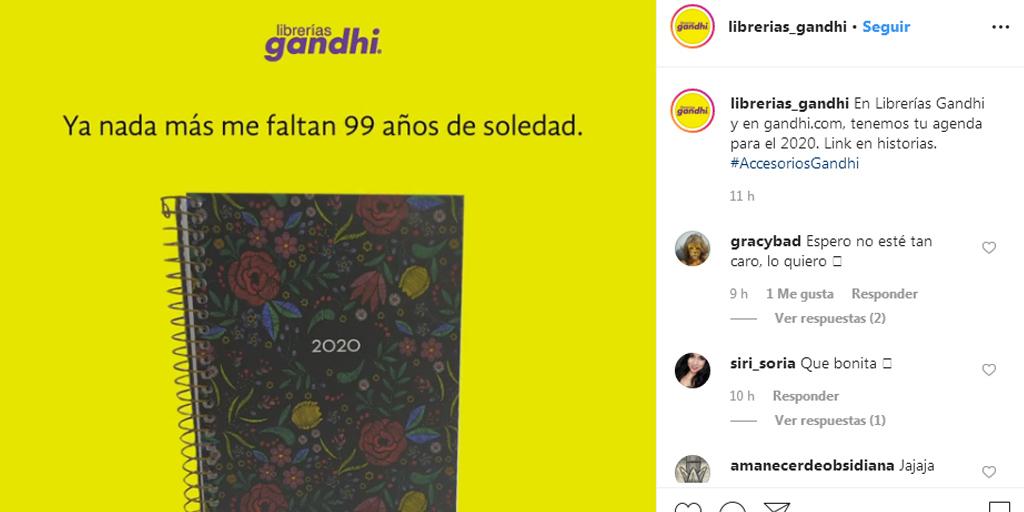 Ejemplo de pie de foto en Instagram de Librería Gandhi con llamada a la acción