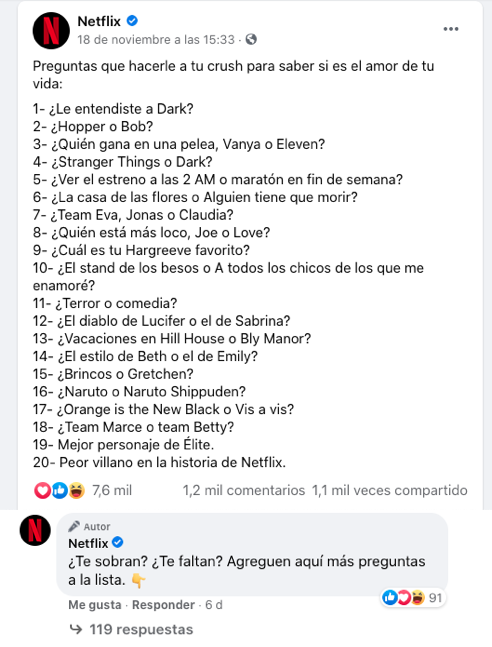 Ejemplo de marketing en Facebook de Netflix México