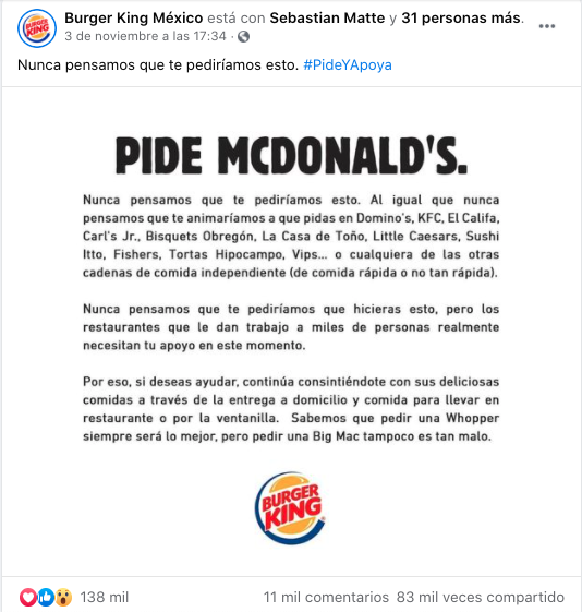 Publicación orgánica para marketing en Facebook de Burger King México
