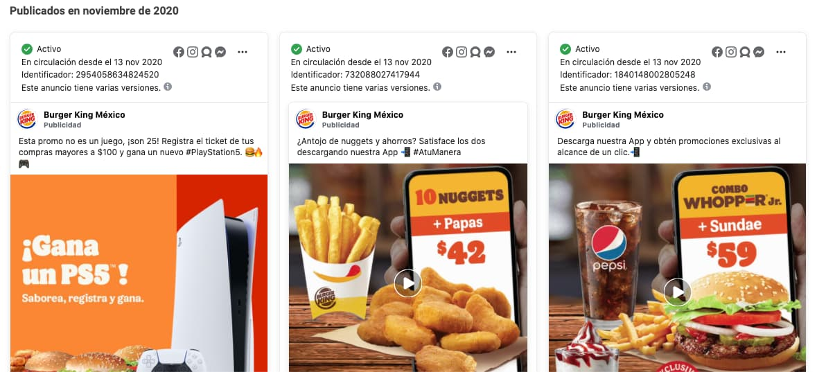 Publicaciones pagadas para marketing en Facebook de Burger King México