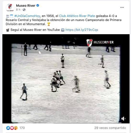 Ejemplo de contenido programado para marketing en Facebook del Museo River