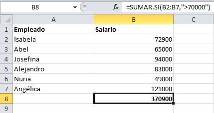 Fórmulas de Excel: SUMAR.SI