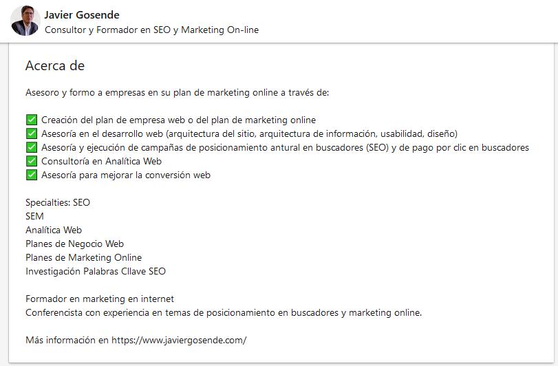 Ejemplo de biografía profesional en LinkedIn de Javier Gosende