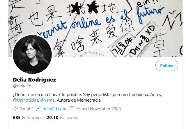 Ejemplo de biografía profesional en Twitter de Delia Rodríguez