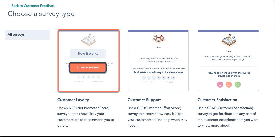 Encuestas NPS con HubSpot: crear encuestas