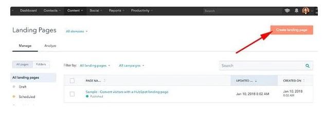 Cómo hacer una página web en Hubspot: crea una landing page y asigna un nombre