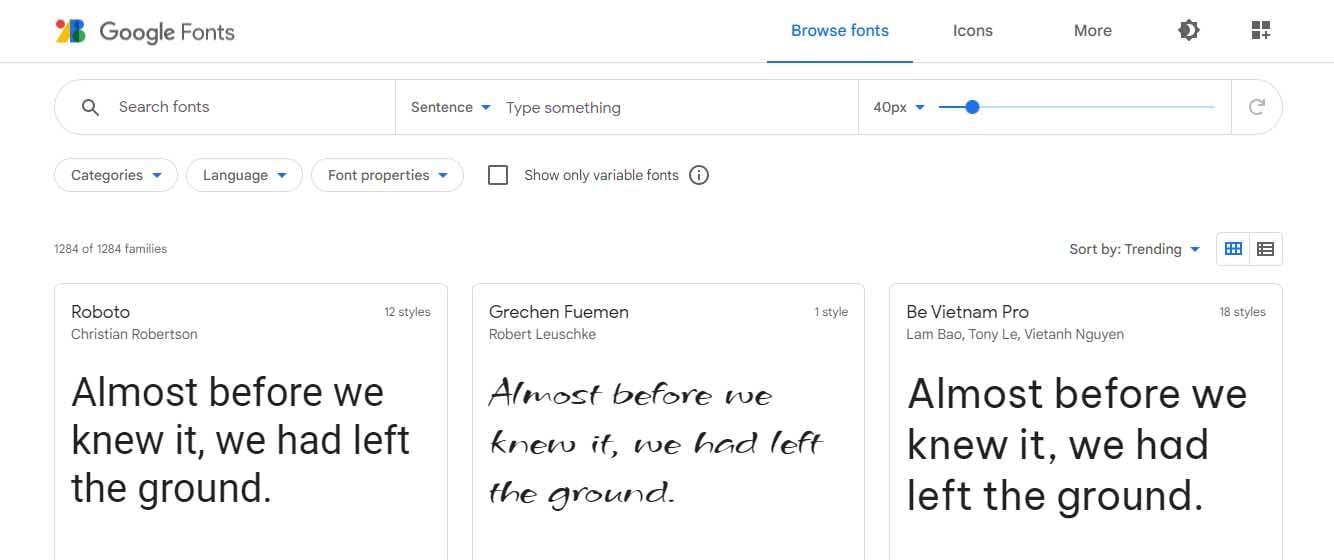 Ejemplo de mejores herramientas para diseño web en 2022: Google Fonts