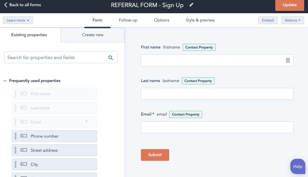 Formulario de referencias con Operations Hub