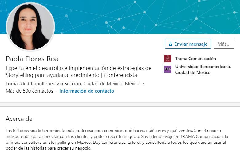 Ejemplo de biografía profesional de Paola Flores Roa