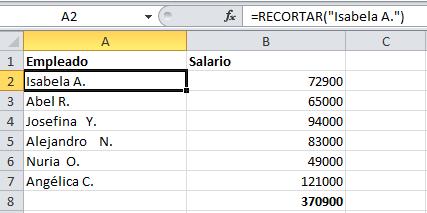 Fórmulas de Excel: espacio (cómo eliminar espacios vacíos)