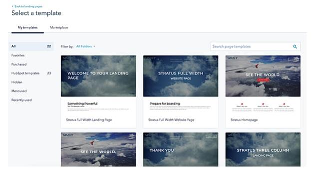Cómo hacer una web en Hubspot: selecciona una plantilla