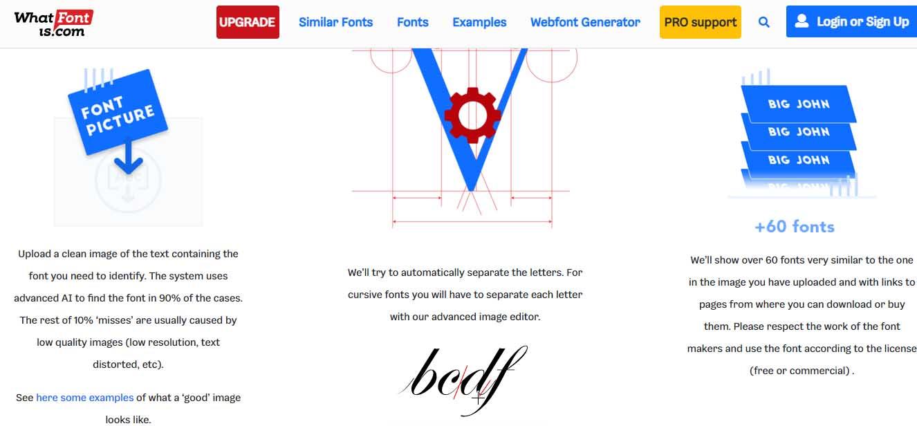 Ejemplo de mejores herramientas para diseño web en 2022: What Font Is