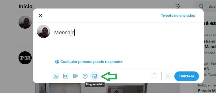 Cómo programar publicaciones en Twitter: botón de programación