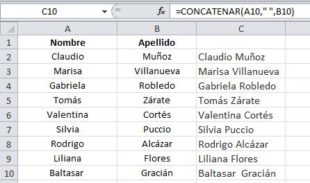 Fórmulas de Excel: CONCATENAR o CONCAT