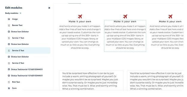 Pasos para un sitio en Hubspot: añade elementos complementarios como imágenes, formularios y otros