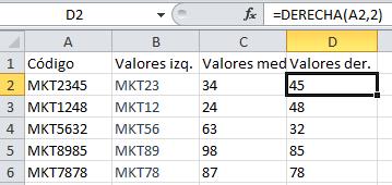 Fórmula de Excel: DERECHA