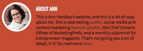 Ejemplos de biografías profesionales: Ann Handley