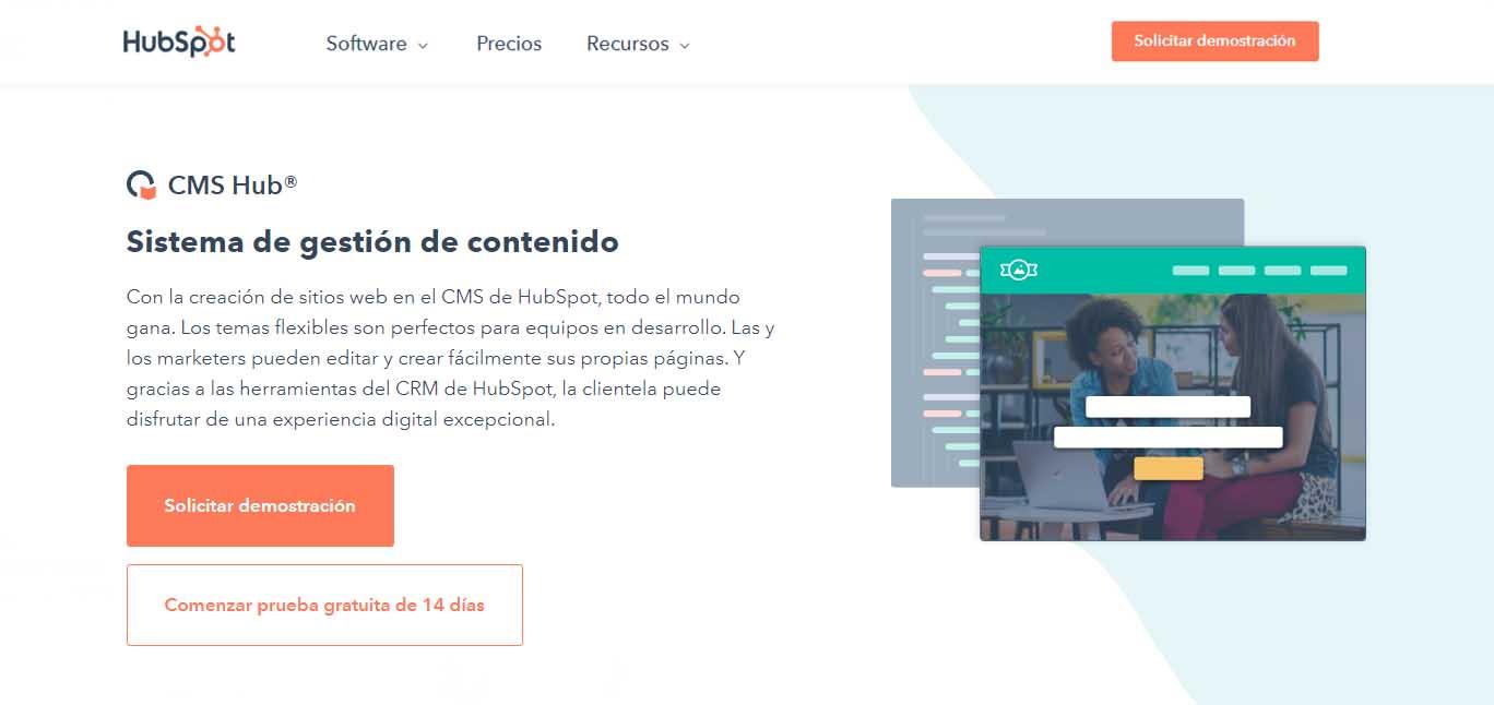 Ejemplo de mejores herramientas para diseño web en 2022: CMS Hub
