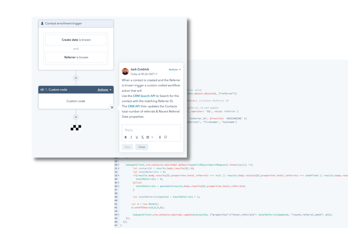 Configuración de workflows para programas de referidos en HubSpot