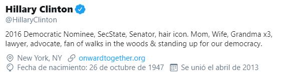 Ejemplo de biografía de Twitter de Hillary Clinton