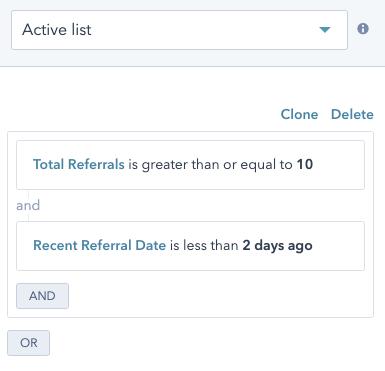 Segmentación de listas de contacto para un programa de referidos en HubSpot