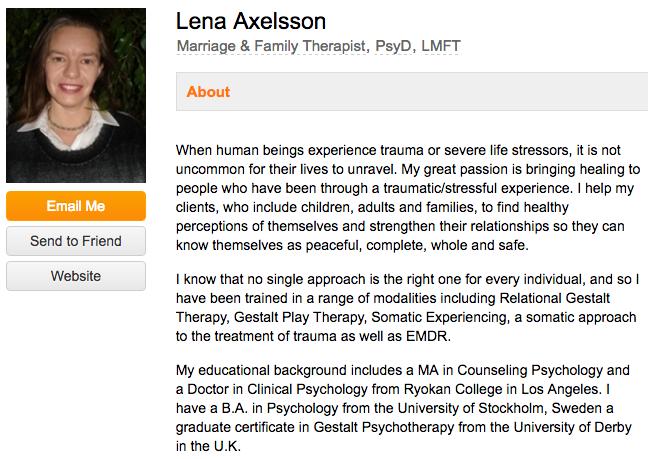 Ejemplos de biografía profesional: Lena Axelsson