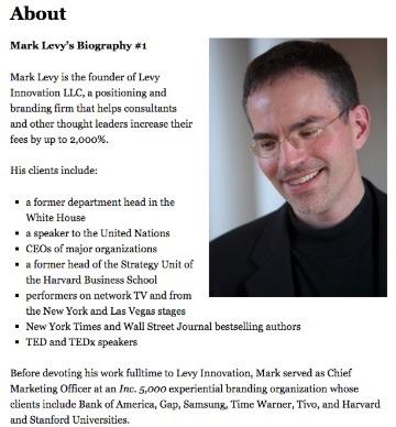 Ejemplo de cómo hacer una biografía profesional: Mark Levy