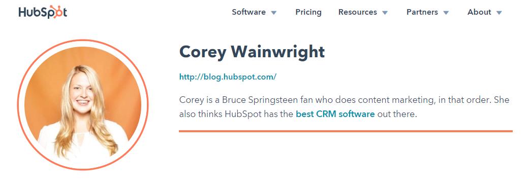 Ejemplo de biografía profesional de Corey Wainwright