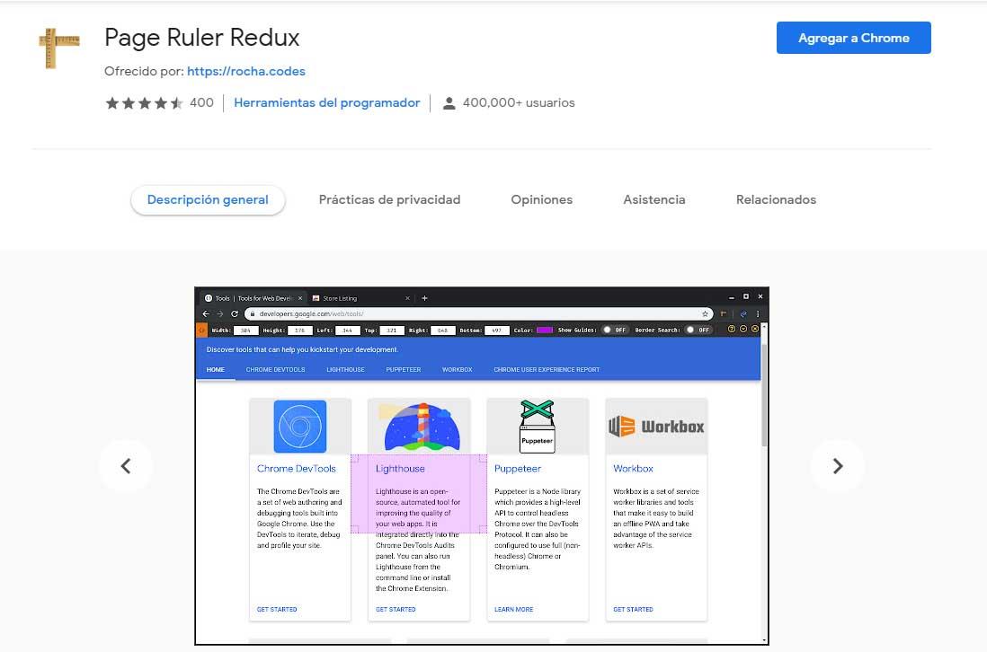 Ejemplo de mejores herramientas para diseño web en 2022: Page Rule Redux