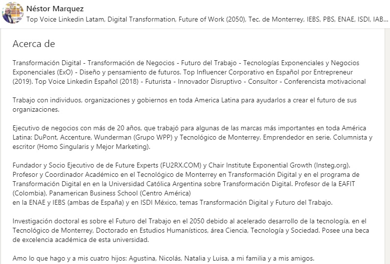 Ejemplo de biografía profesional en LinkedIn de Néstor Marquez