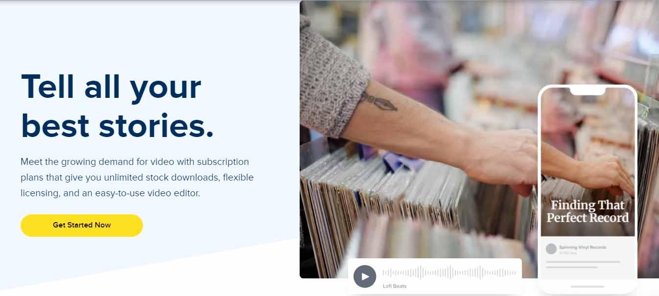 Bancos de música libre de derechos para videos: Storyblocks