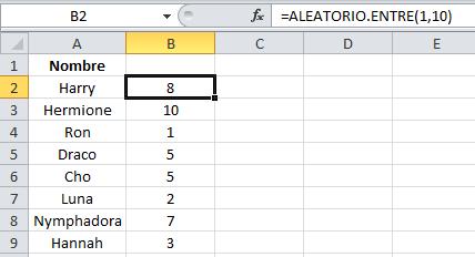 Fórmulas de Excel: ALEATORIO