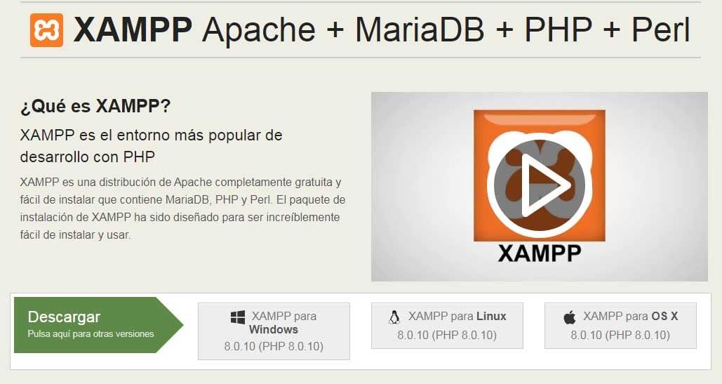 Ejemplo de mejores herramientas para diseño web en 2022: XAMPP