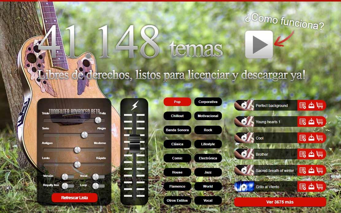 Bancos de música libre de derechos para videos: Tonopro