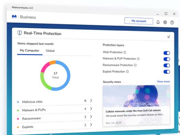 Antivirus para empresas: Malwarebytes