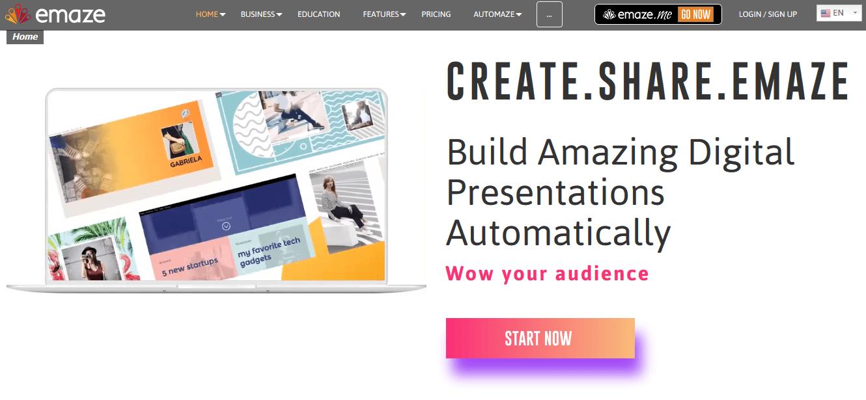 Programas de marketing de contenidos: Emaze