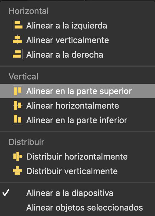 Alinear o distribuir objetos con la diapositiva en PowerPoint