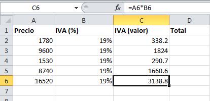 Fórmulas de Excel: cómo calcular el IVA con una fórmula