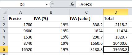 Ejemplo de fórmula de Excel para calcular el IVA