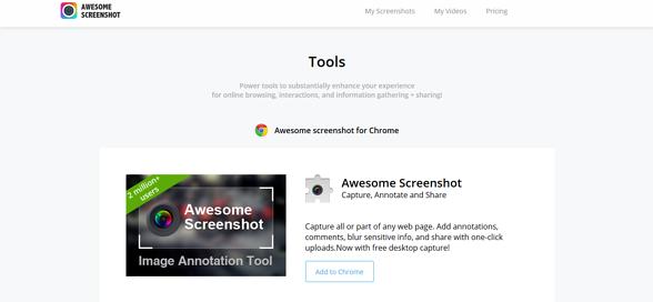 Programas de marketing de contenidos: Awesome Screenshot