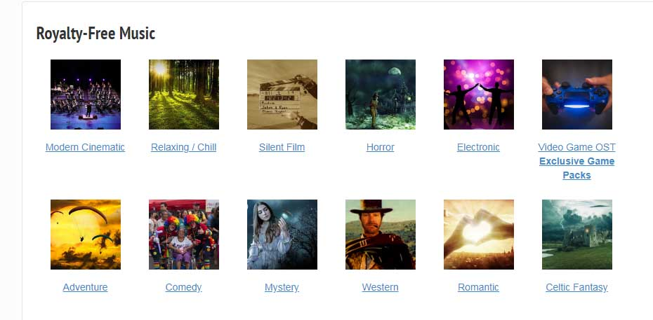 Bancos de música libre de derechos para videos: Incompetech