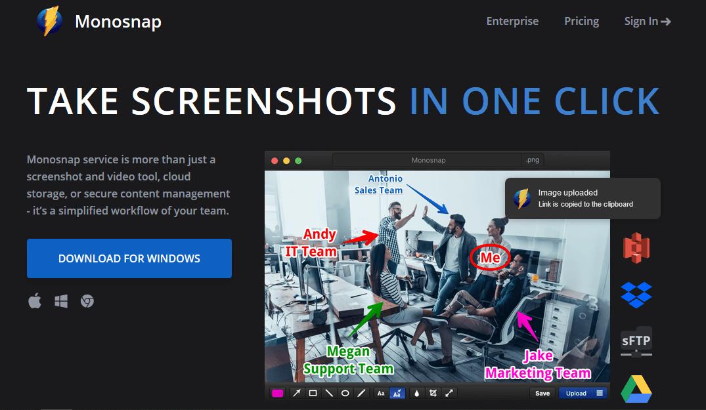 Programas de marketing de contenidos: Monosnap
