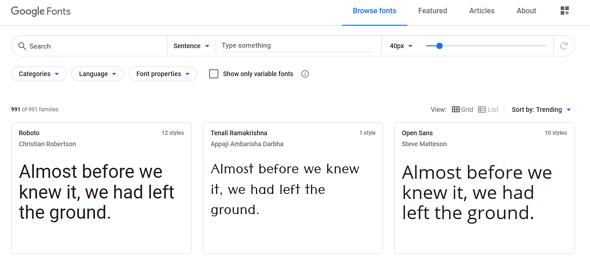Programas de marketing de contenidos: Google Fonts