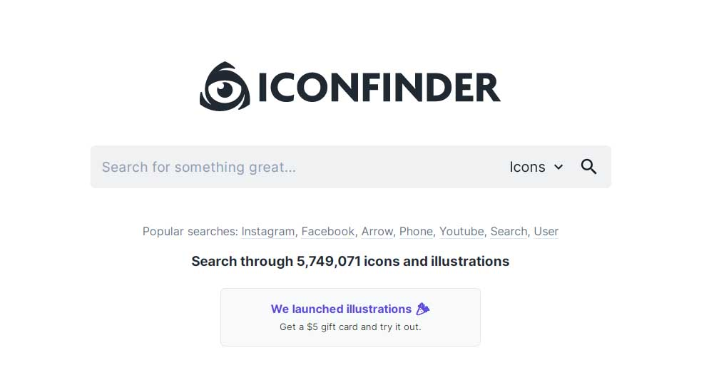 Ejemplo de mejores herramientas para diseño web en 2022: Iconfinder