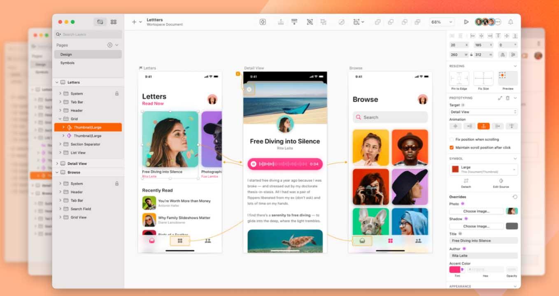 Ejemplo de mejores herramientas para diseño web en 2022: Sketch