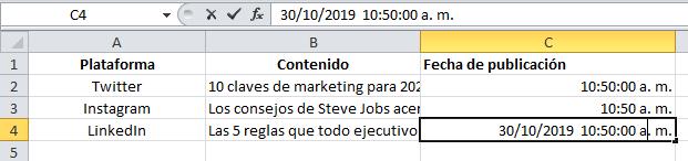 Atajo de Excel para añadir la fecha y hora